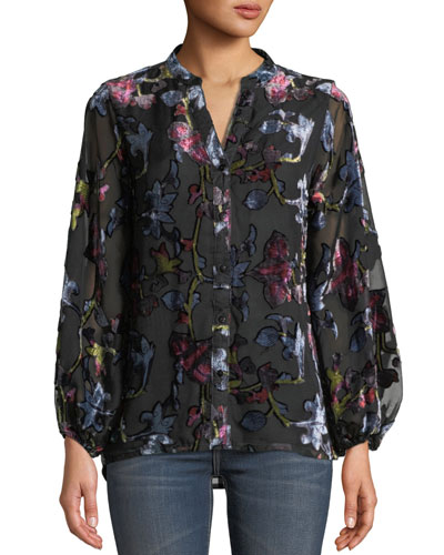 Melany Floral Burnout Velvet Long-Sleeve Shirt, Plus Size