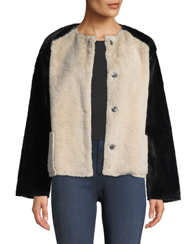 Ray Colorblock Structured Faux-Fur Jacket