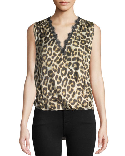 Vada Leopard-Print Sleeveless Top with Lace Trim