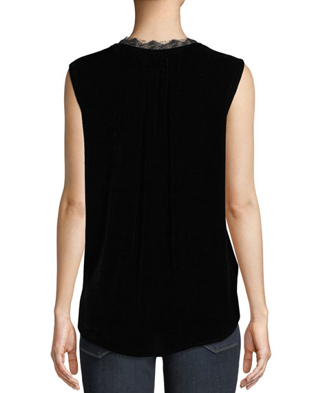 abf8f725ee4e45 Image 2 of 3  Celia Velvet Sleeveless Top with Lace Trim