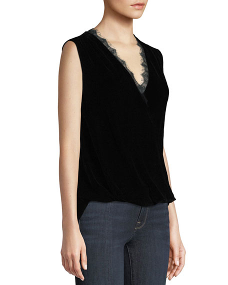 2108be0720a984 Image 3 of 3  Celia Velvet Sleeveless Top with Lace Trim