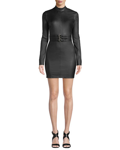 Domino High-Neck Belted Leather Short Dress