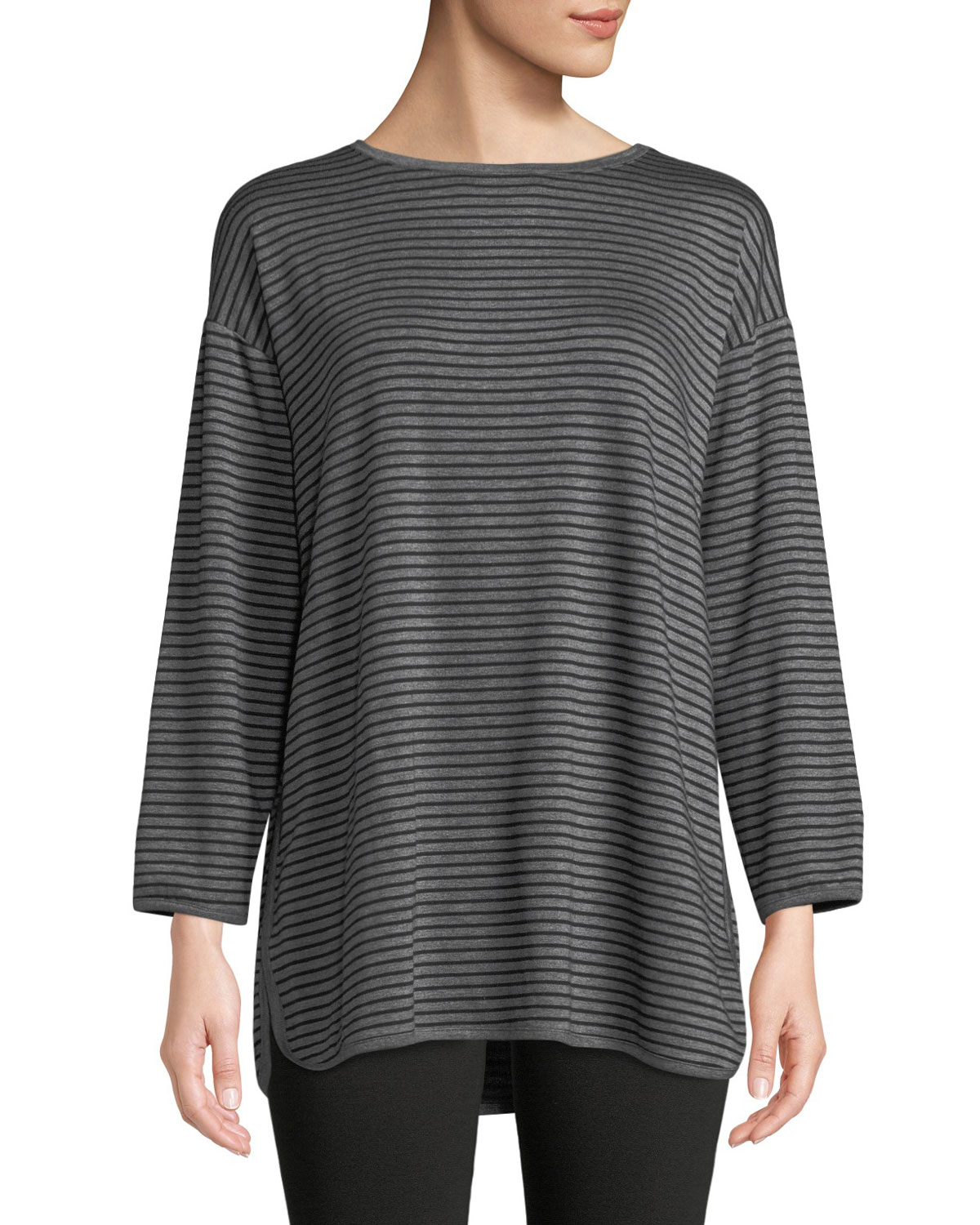 35304e9306c Eileen Fisher Striped Terry Cloth Side-Slit Tunic, Plus Size ...