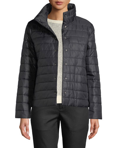 High-Collar Snap-Front Recycled Nylon Jacket, Petite