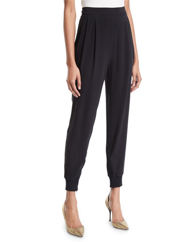 Silk Crepe Pull-On Jogger Pants w/ Ankle-Zip