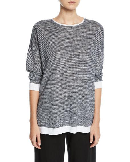Eileen Fisher Linens Organic Linen-Cotton Slub Top, Petite