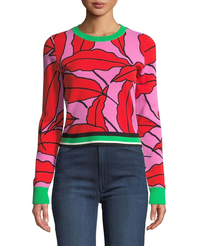 4d02847658c6 Diane von Furstenberg Paskavan Leaf-Print Cropped Sweater