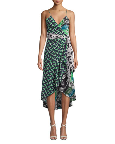 Katsia Printed Sleeveless Wrap Dress