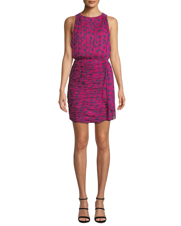 91fa292fdce4f Diane von Furstenberg Micah Silk Floral-Print Sleeveless Short Dress ...