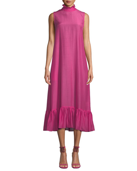 Floating On The Clouds Organic Cotton And Silk-Blend Midi Dress in Magenta