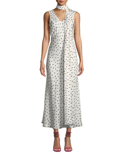 Strength In Vulnerability Printed Tie-Neck Long Dress