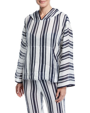 4092f28034b Tory Burch Awning Stripe Linen Coverup Hoodie