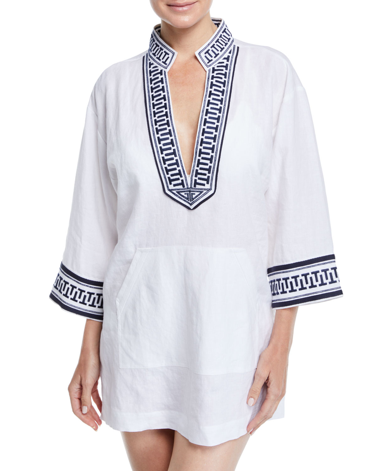 1dfb60ffbe16ce Tory Burch Tory Embroidered Linen Coverup Tunic
