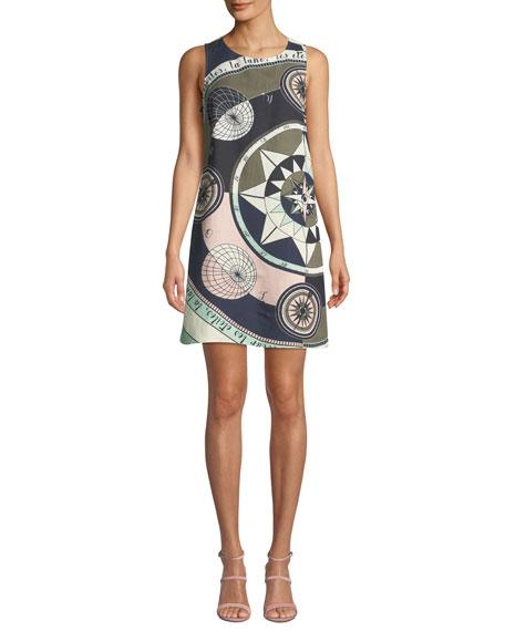Tory Burch Linens Constellation Sleeveless Linen-Blend Short Dress