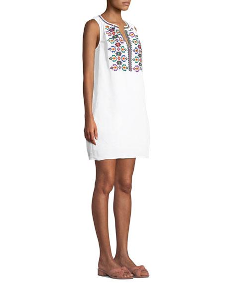 TORY BURCH Linens Embroidered Sleeveless Linen Short Dress