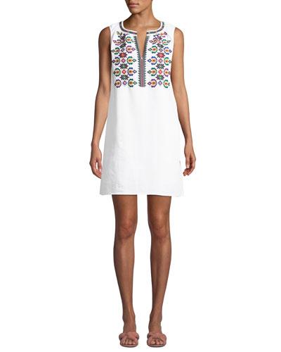 Embroidered Sleeveless Linen Short Dress