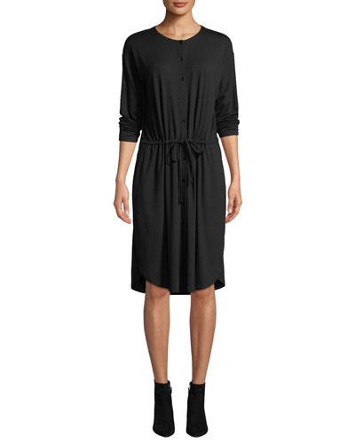 Long-Sleeve Button-Front Drawstring Jersey Dress