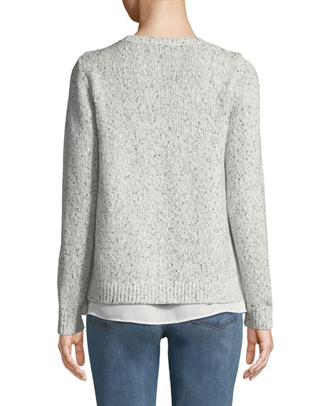 CLUB MONACO Cottons Kaelane Mixed Media Pullover Sweater