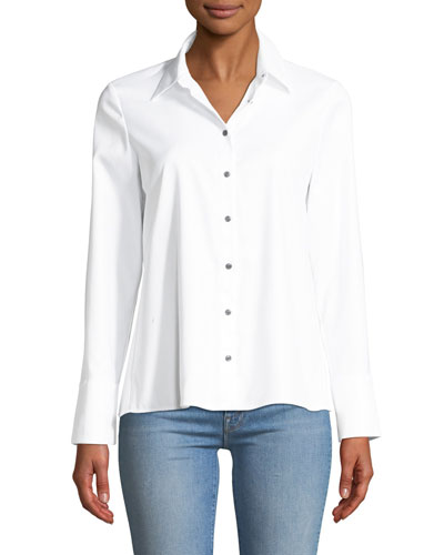 Jadyn Pleated Button-Front Poplin Shirt