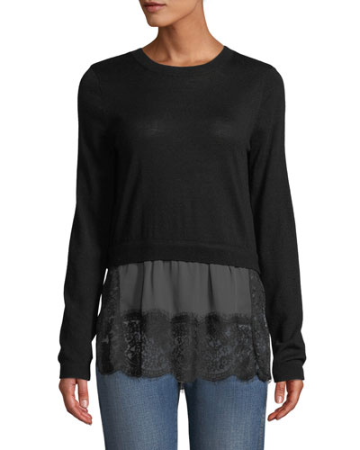 Yahira Wool Sweater with Lace Underlay