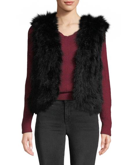 CLUB MONACO Violet Marabou Feather Vest in Black