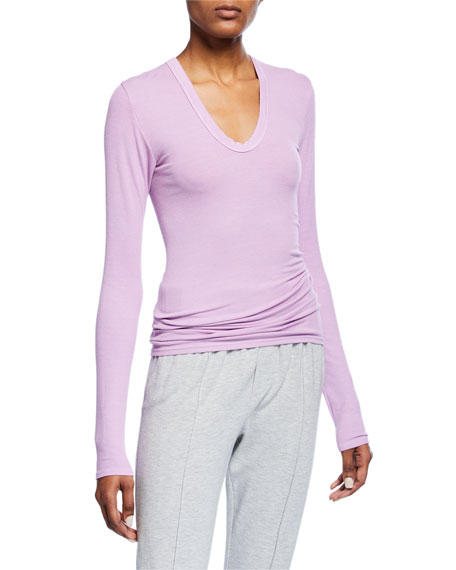 Enza Costa RIB-KNIT FITTED U-NECK PULLOVER SWEATER