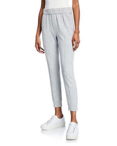 Pintuck Cropped Pull-On Jogger Pants