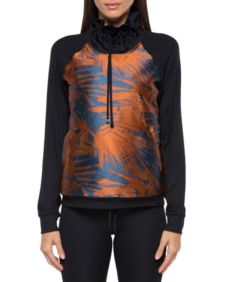 Koral Sweatshirts ROULETTE FUNNEL-NECK PRINTED SWEATSHIRT