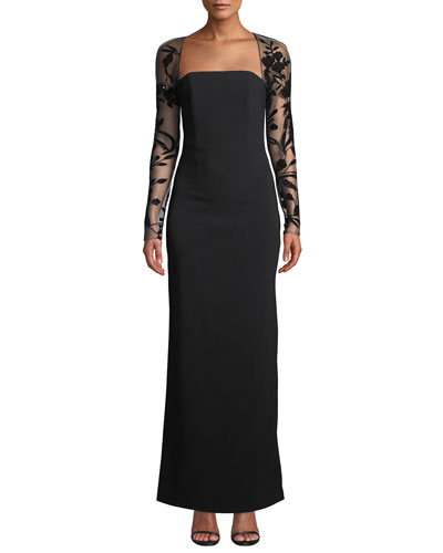 Lori Sheer Long-Sleeve Square-Neck Gown