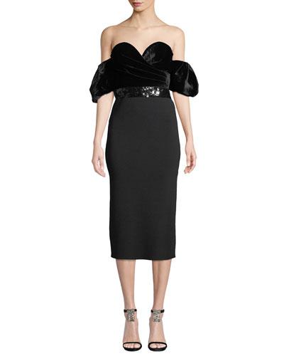 Stassi Velvet & Knit Body-Con Dress