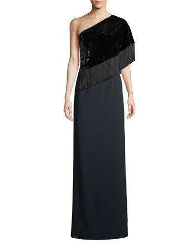 Kezia 1-Shoulder Sequin & Fringe Gown
