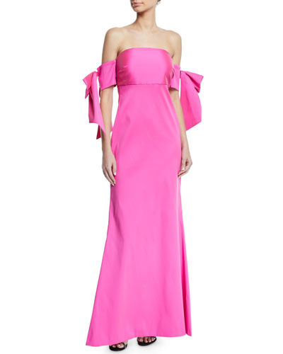 Christiane Strapless Bow & Ruffle Gown