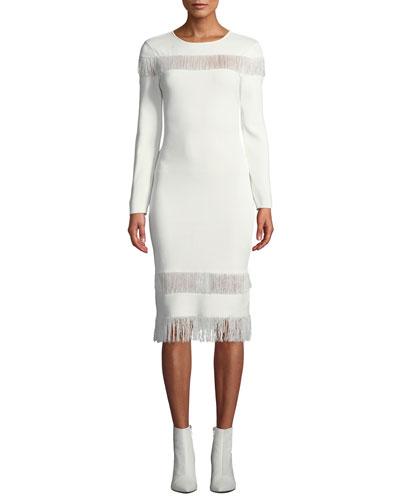 Seraphina Long-Sleeve Fringe Dress