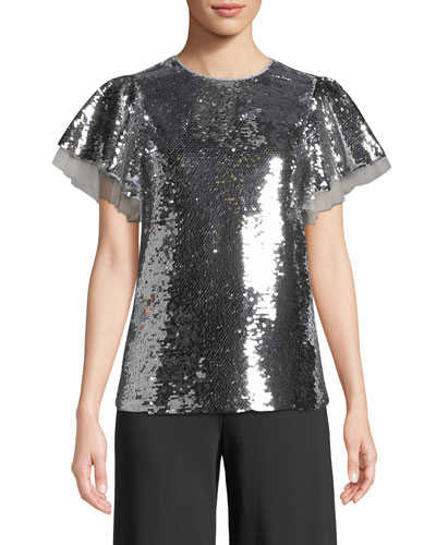 Lentin Sequin & Ruffle Top