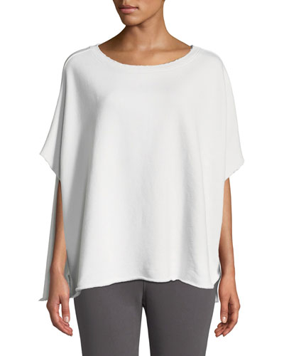 Raw-Edge Cotton Scoop-Neck Capelet Tee