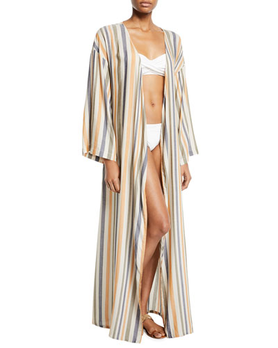 Meika Striped Coverup Robe with Pockets