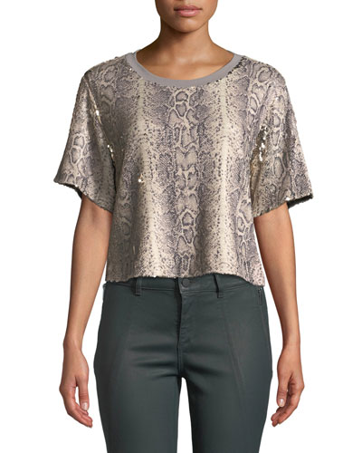 Alexi Sequined Snake-Print Cropped Tee