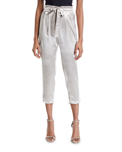 Allyn Belted Charmeuse Cropped Pants