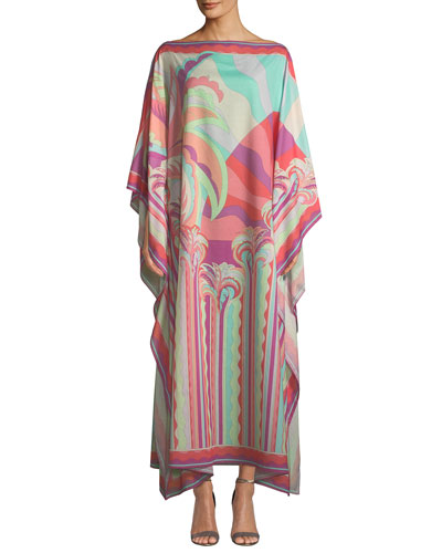 Long Multicolor Printed Kaftan