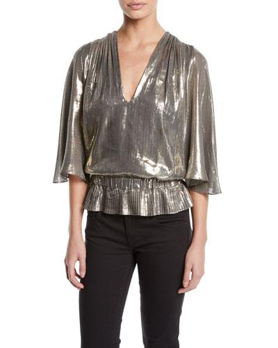 Tonya Metallic Peplum Short-Sleeve Top