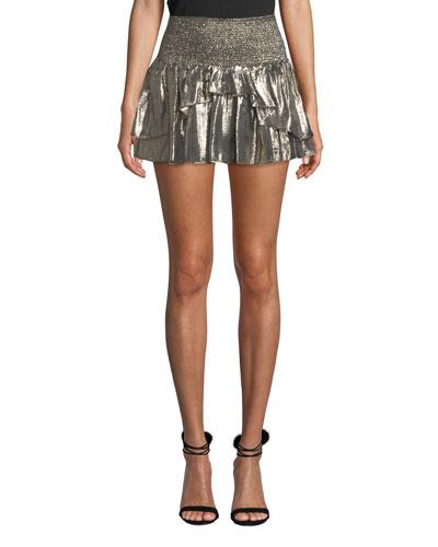 Eva Smocked Metallic Ruffle Mini Skirt