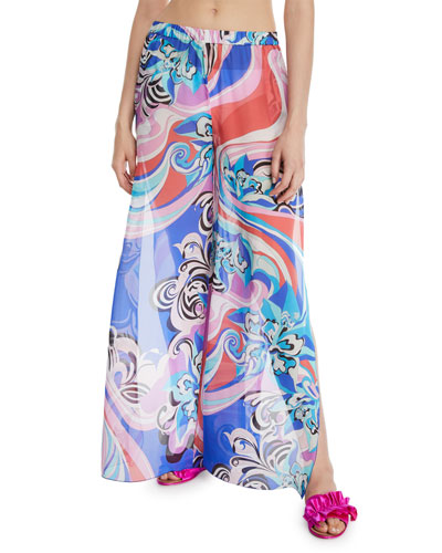 Printed Split-Leg Silk Coverup Trousers