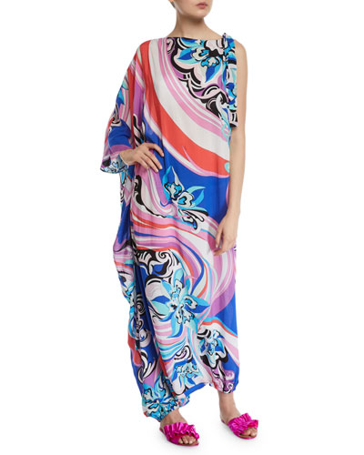 Printed One-Sleeve Long Kaftan