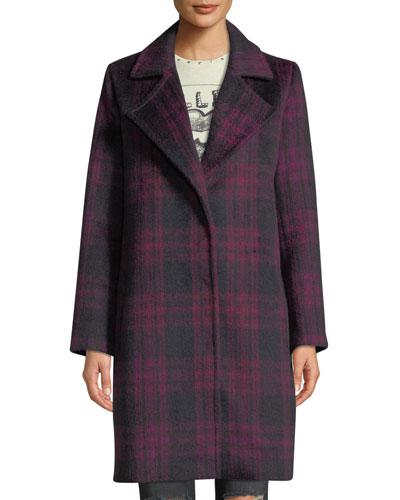 Aldean Plaid Snap-Front Long Coat