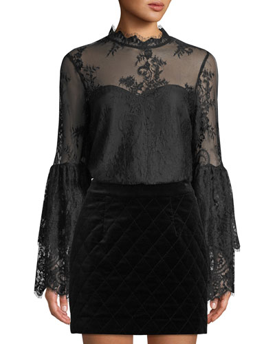 Davey Lace Bell-Sleeve Illusion Blouse