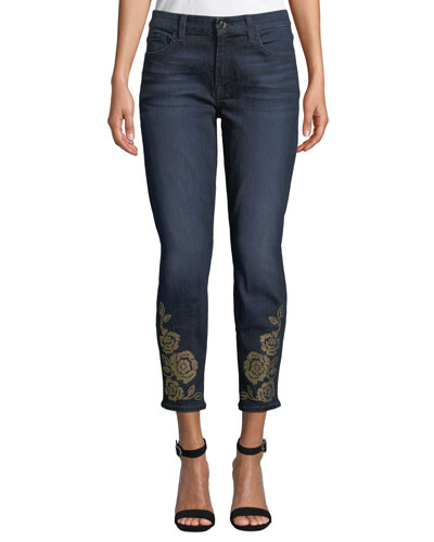 The Ankle Skinny Jeans with Studded Hem