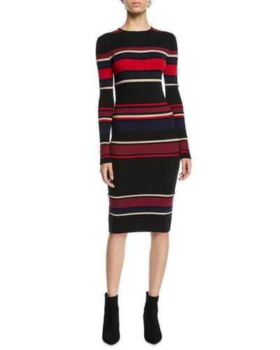 Jaslene Striped Long-Sleeve Sweater Dress