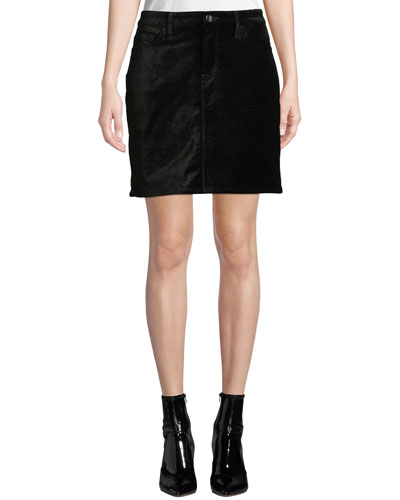 Stretch Velvet Straight Mini Skirt