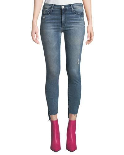 Miranda Step-Hem Distressed High-Rise Skinny Jeans