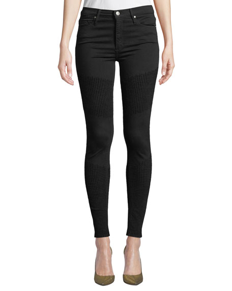 BLACK ORCHID Gisele High-Rise Super Skinny With Moto Detail in So Black